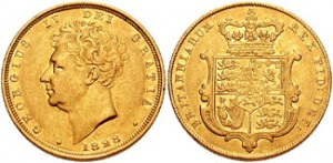 sterlina oro giorgio iv stemma reale 1828