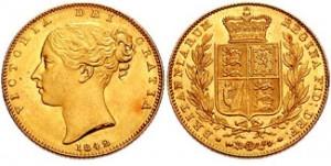 sterlina oro 1842 stemma reale