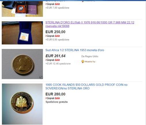 come comprare monete oro su ebay