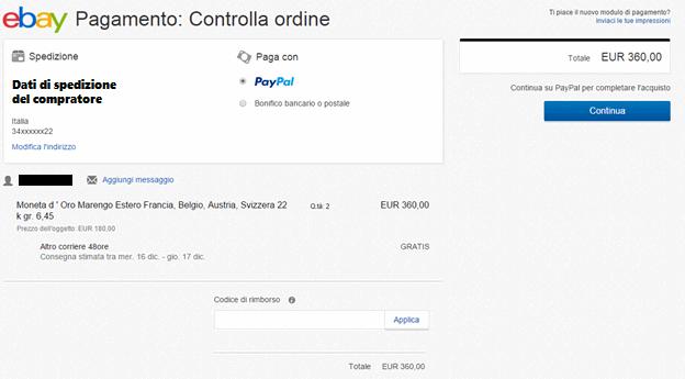 scelta pagamento Ebay