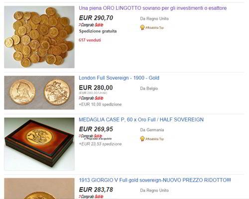 sterlina oro su ebay