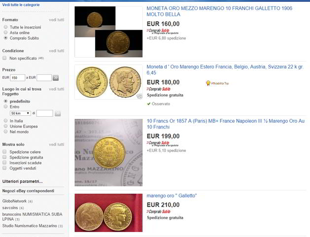 come comprare marengo oro su ebay