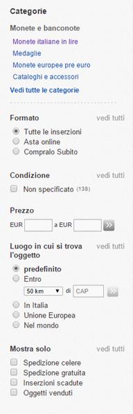 menu ricerca ebay